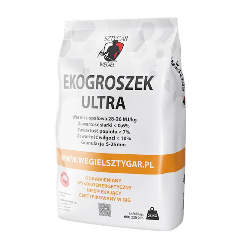 Ekogroszek ULTRA marki WĘGIEL SZTYGAR®. 28-26 MJ/kg, opakowanie 25 kg – dodatkowo oczyszczany zkamieni, ciał obcych isuszony